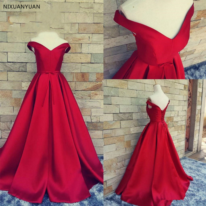 Sexy Off Shoulder Lace Long Red   Prom     Dresses   2019 Formal Party   Dress   for Graduation Plus Size Customer Made
