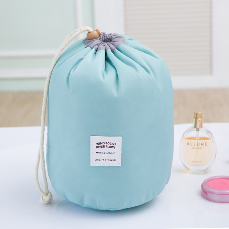Brand New Barrel Shaped Travel Cosmetic Bag Nylon High Capacity ...