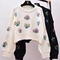 2017 Otoño Nueva Moda Mujeres Lindas Bordado Recortada Suéter de Punto Jerseys jerseys