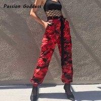 Europeu Moda Feminina Vermelho Militar Camo Carga Calças de Camuflagem HipHop Calças de Dança Vermelho Femme Jean Calças Pantalon Mujer