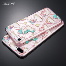 USLION Fashion Glitter Cute Cartoon Unicorn Phone Case For iPhone 7 6 6s Plus Slim Back Cover Soft TPU Cases For iPhone7 Plus