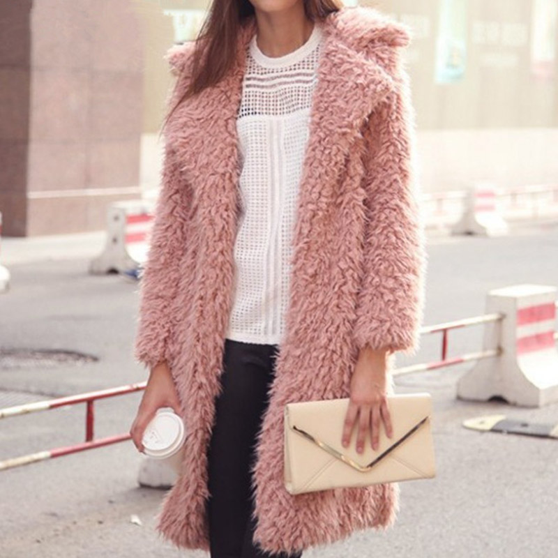 2019 Autumn Winter Women Jacket New High-end Coat Elegant Lamb Wool Long-sleeved Jacket Lapel Furry Ladies Long Casual Outerwear
