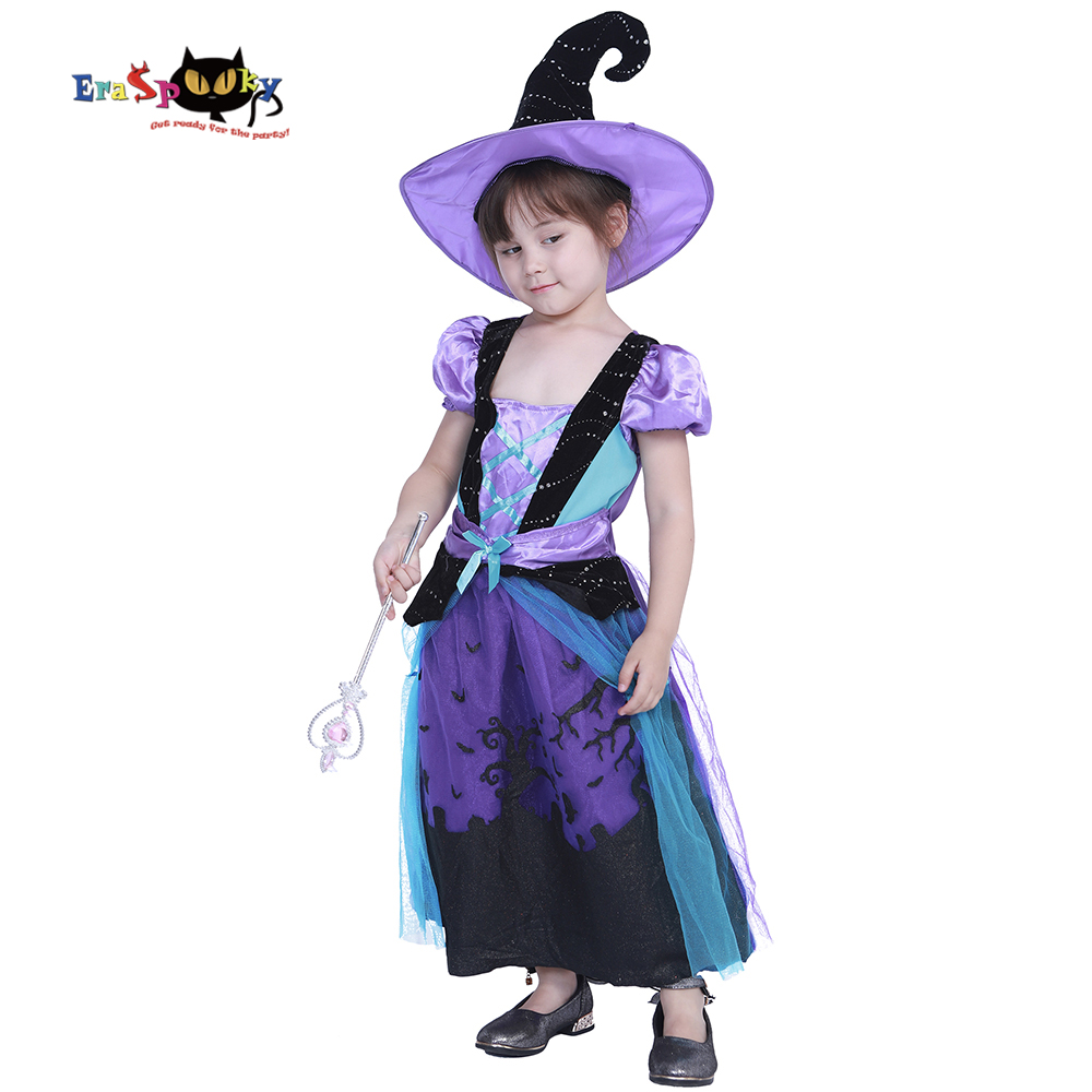Eraspooky halloween costume for girl witch costume kids cauldron cutie costume for girls Dress and Hat Set 5 - 12 Years Old