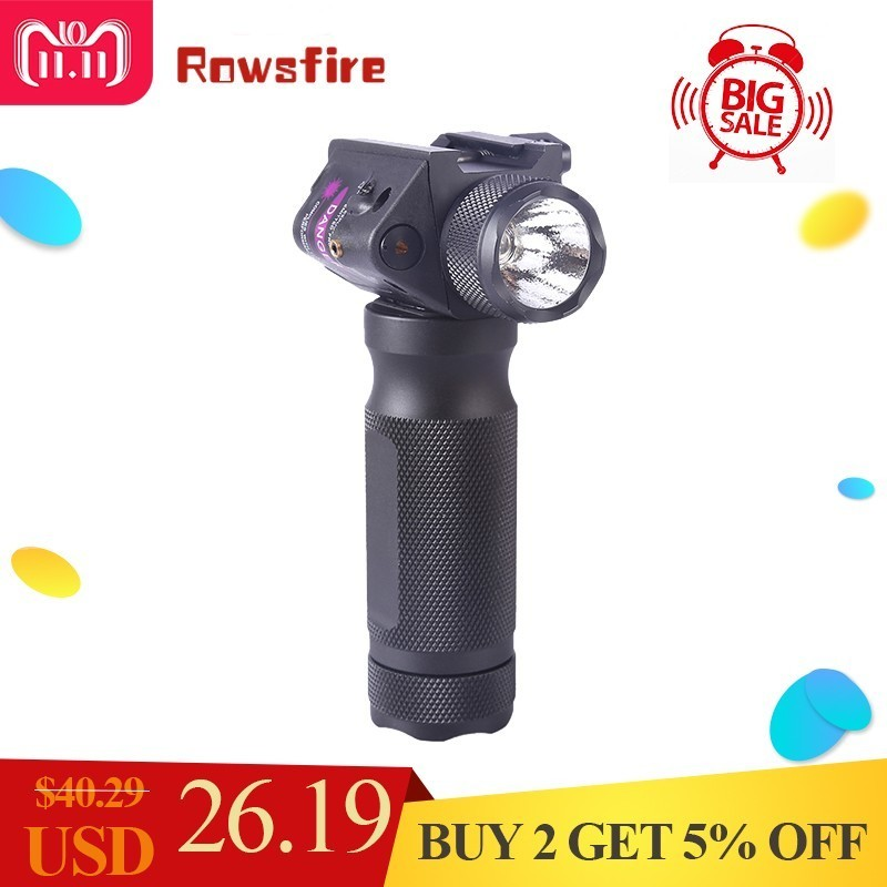 Rowsfire Red Dot Laser Glare Flashlight Handle For 21mm Guide Rail Gun Toy Parts With High Quality- Black element ex276 peq15 battery case military high precision red dot laser integrated with led flashlight red laser and ir lens