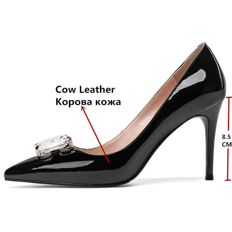 FEDONAS Mode Sexy Strass Bruiloft Schoenen Vrouw Klassieke Puntige Teen Prom Pumps Hoge Hakken Slip Op Lente Zomer Schoenen