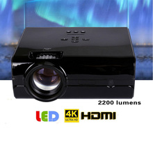 Video Projector 2200 Lumens 4Inch Mini LED Projector Home Theater 20000 Hour LED Video Projector support 1080P home theater 5.1