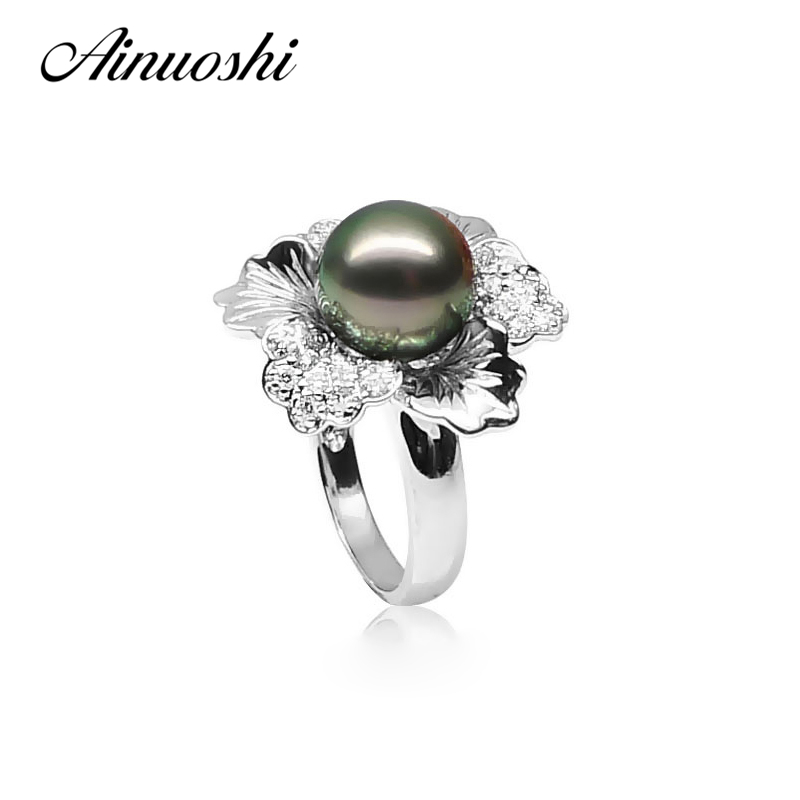 AINUOSHI Luxury 925 Sterling Silver Flower Shaped Pearl Rings Natural Tahiti Black Pearl 10-10.5mm Round Pearl Wedding Ring Gift faux pearl s shaped cuff ring
