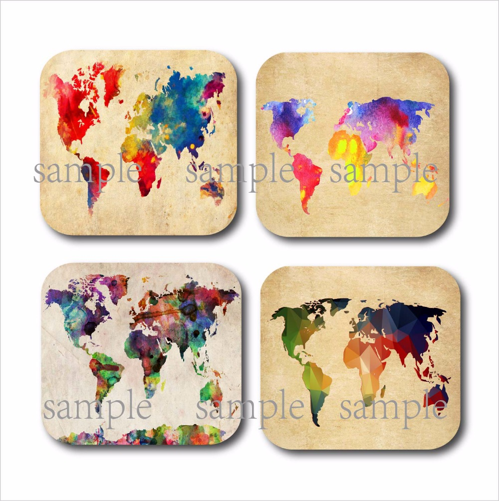 Set Of 4 Watercolor World Map Cup Coaster Wood Mdf