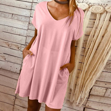 Womens Dress Ladies Beach Summer Pocket Plus Size Stylish Home Short Sleeves