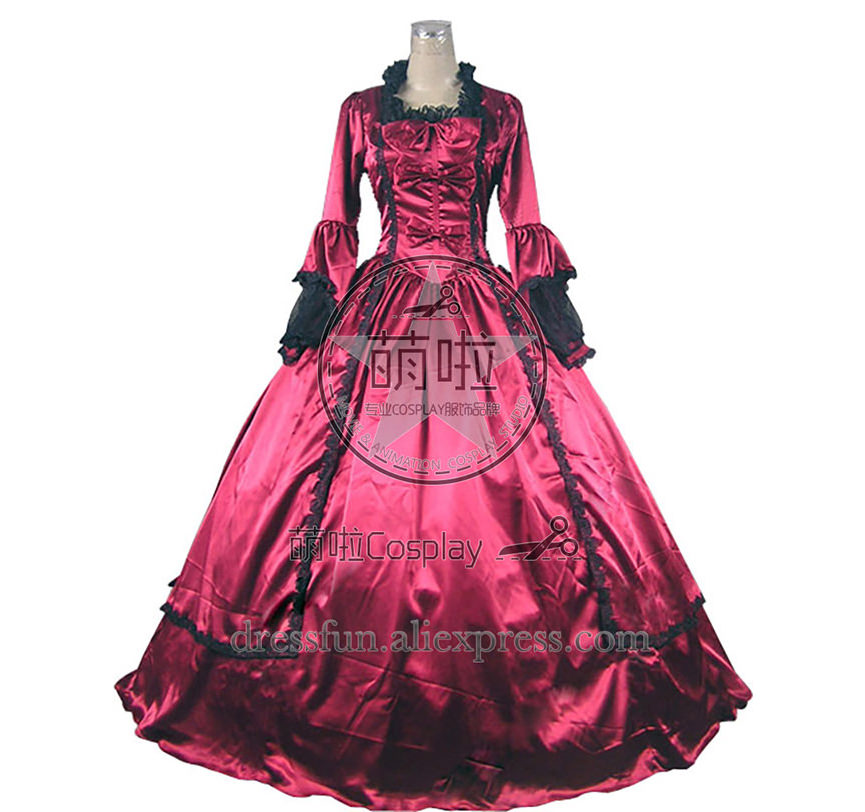 Marie Antoinette Victorian Ball Gown Cosplay Red Wedding Dress Long Sleeve Fast Shipping Lace and Bow Tie Decoration