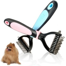 Stainless Pet Grooming Dog Cat Hair Comb Soft Plastic Handle Brush Rake Grooming Dog Detangling Comb Fur Brushes Trimmer Tool double side pet fur dog brush comb rake hair brush cat grooming deshedding trimmer tool dog comb pet brush rake 12 23 blades