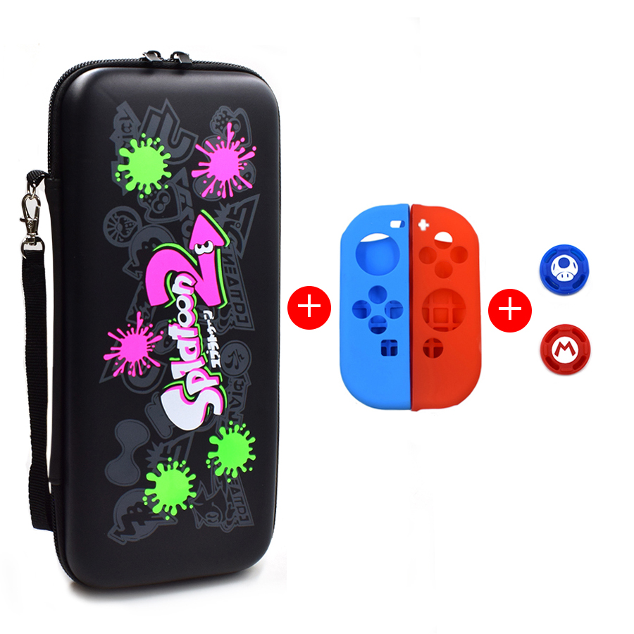 5 in 1 Nintend Switch NS Accessories Kit Protective Cover Carrying Case Bag with Slicone Case Analog Caps for Nintendo Switch 2
