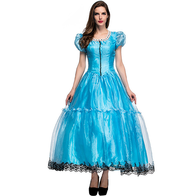 Halloween women Alice in Wonderland costumes Girl Alice blue ball gown yarn bubble dress large size
