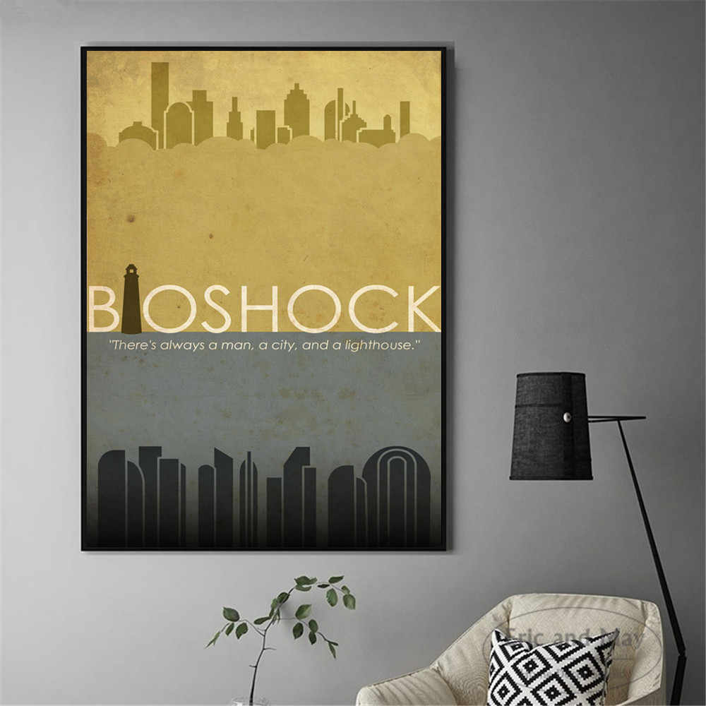 Bioshock retro game artwork canvas art print painting modern wall picture home decor bedroom decorative posters no frame quadros