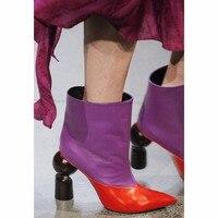 THEMOST Модные модельные туфли босиком заостренной формы полусапожки шить Для женщин из натуральной кожи большой Размеры 33 48 zapatos de