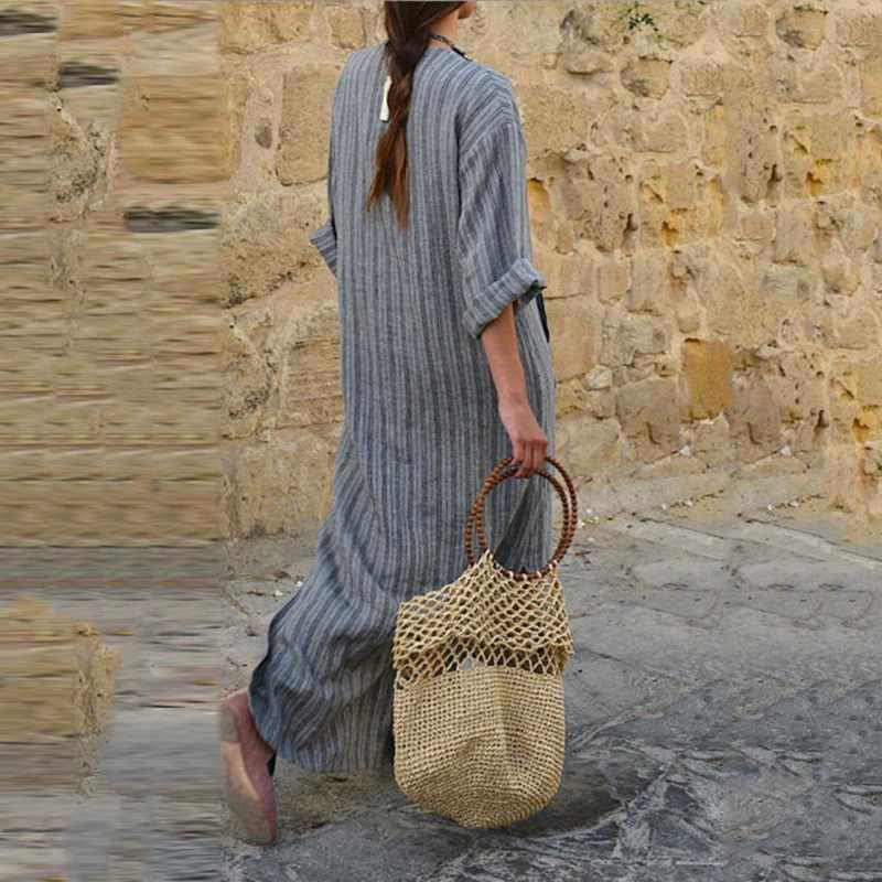Женское Полосатое платье сексуальное с v-образным вырезом с длинным рукавом Макси Длинные платья винтажное повседневное свободное платье плюс размер