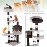 112CM Height Cat Tree Tower Condo Scratcher Posts Climbing Tree Pet Kitten Play Frame House Hammock Protecting Home Furniture