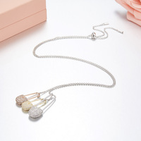 Famous pure S925 clip pin Necklace Mix white gold rose gold sterling silver Monaco Brand Adjustable size necklace Jewelry