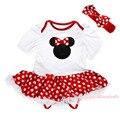 Красный минни маус рождество белый комбинезон девушки в горошек платье младенца юбки наряд NB-18M MAJSA0581