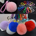 Rabbit Fur Ball Keychain Fashion Trendy Plated Round Key Chain For Car Women Bag Charms 11 Colors For Land rover Benz BMW
