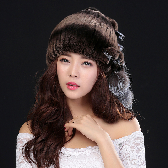 Winter Hats For  Women 100% Natural Rex Rabbit Fur Winter Hats For Lady Fashion Fur Cap Warm Beanies Lady headwear  Bone