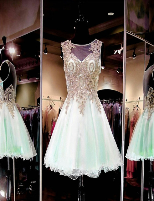 Fashionable Mint Green Sparkly Short Dresses Knee Length A-line  Homecoming Dress Christmas  teenage graduation Homecoming Gowns
