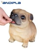 Creative Cute Dog Money Boxes Lucky Pug Sculpture Piggy Bank Cash Coins Saving Box Money Saving Box Deposit Boxs Home Decor Gift