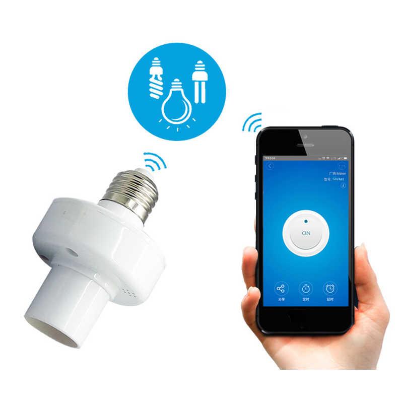 SONOFF RF de 433 MHz WiFi inteligente titular luz E27 soporte bulbo Wifi interruptor para casa inteligente trabaja con Alexa.