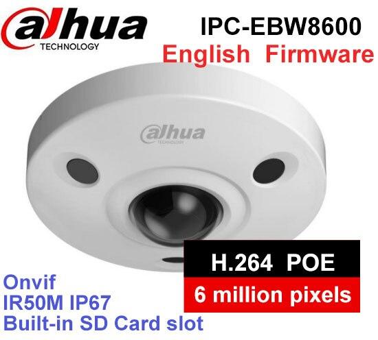 Dahua IPC-EBW8600 6MP fisheye camera built-in MIC PoE WDR Panorama 360 Degree Fisheye Dome e-PTZ IP Camera DH-IPC-EBW8600 монитор состава тела omron bf214 hbf 214 ebw