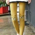Мода Cute Cat Отпечатано Леггинсы Женщины Брюки Весна Милые Девушки Хлопка Леггинсы Женская Одежда 5 Цветов