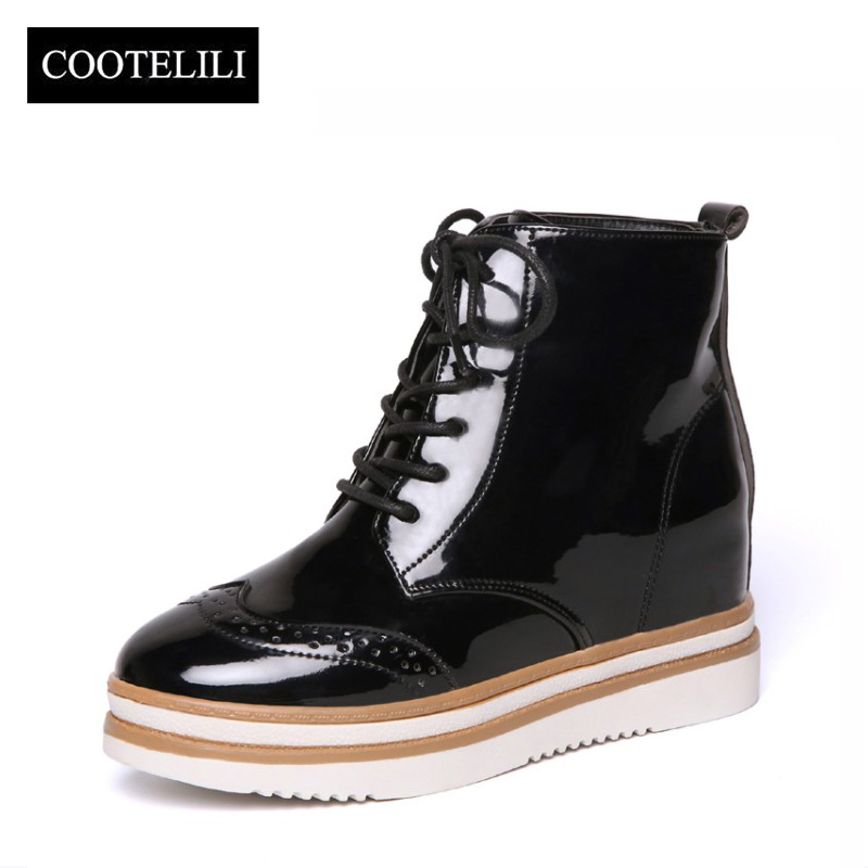 COOTELILI Botas Women Patent Leather Ankle Boots platforms Low Heels Lace Up Brogue Shoes Woman Casual Oxfords 35-39 brogue boots women summer genuine leather black ankle med heels lace up oxford shoes botas feminina chaussure femme talon