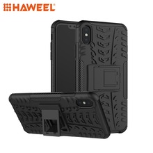 HAWEEL Tire Texture TPU+PC Shockproof Case with Holder for iPhone XR / XS Max Protective Cover Shell Guard