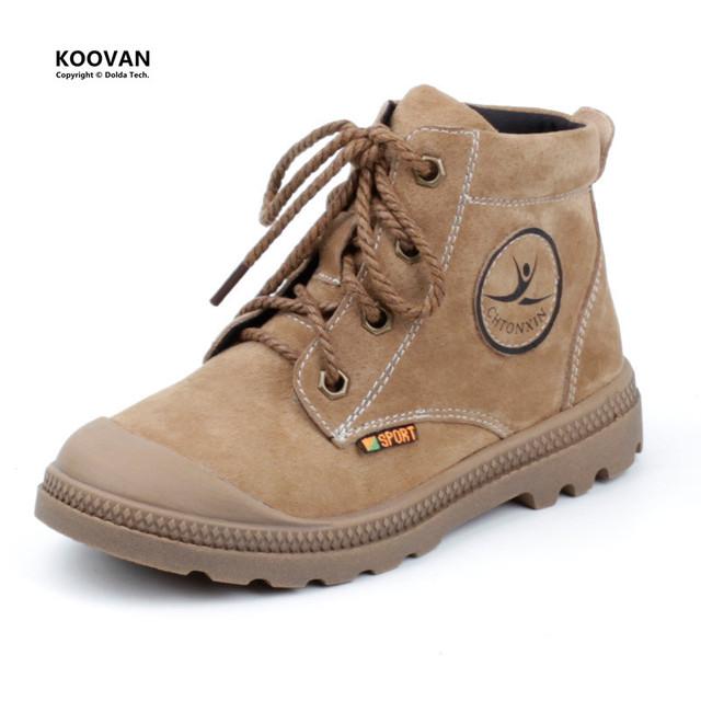 Koovan kids shoes 2017 nueva primavera niños martin botas niñas niños bebés botas de encaje de cuero anti kick estudiantes shoes deportes