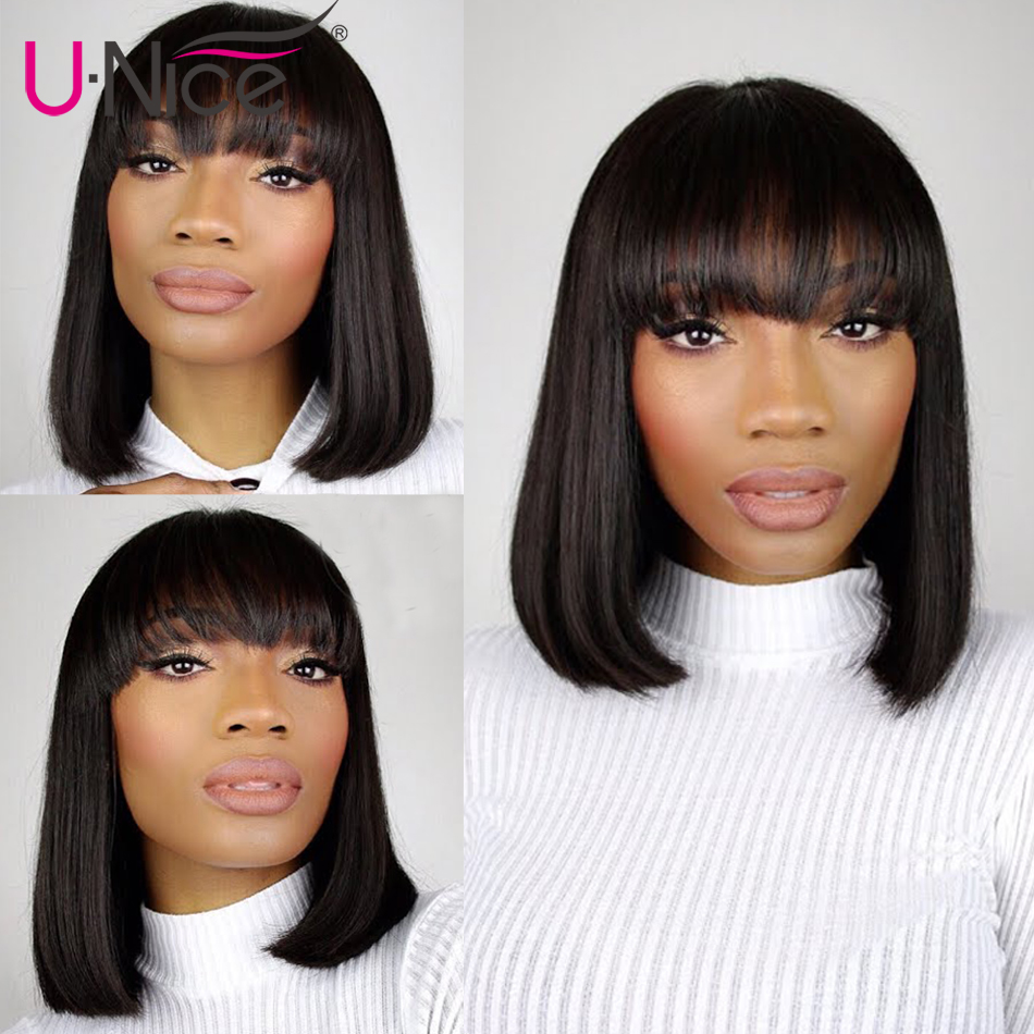 Unice Hair Short Lace Front Human Hair Wig Brazilian Remy Hair Bob Wig with Bangs Lace Unice Hair Short Lace Front Human Hair Wig Brazilian Remy Hair Bob Wig with Bangs Lace Wig Natural Hairline For Black Women