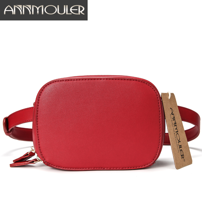 Annmouler Fashion Brand Fanny Pack High Quality Women Waist Packs Pu Leather Red Belt Bag Hip Bag For Ladies 2 Belt Waist Bags