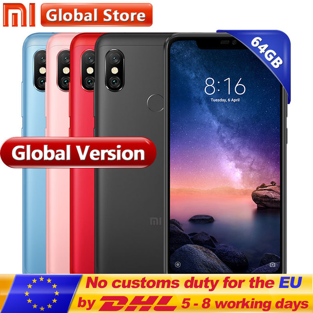 "Global version Xiaomi Redmi note 6 Pro 4GB 64GB Snapdragon 625 Octa Core 4000mAh 6.26"" 19:9 Full Screen 12MP+5MP Dual Camera"