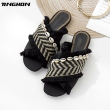 TINGHON Mixed Colors Shell Slipper Sandals Women Bohemia Weaving Tassel Flat Summer Beach Shoes
