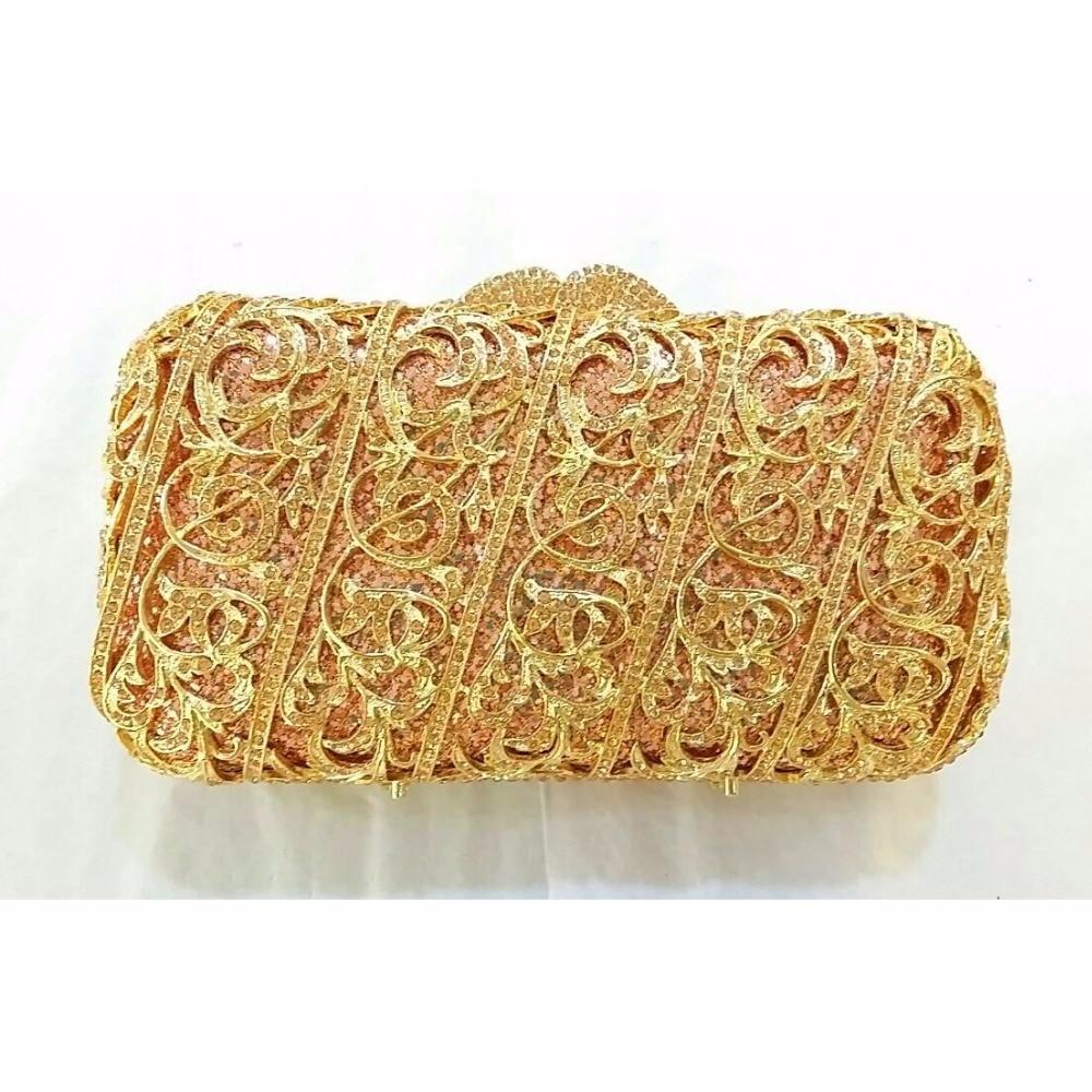 ФОТО 8315 PEACH Crystal Lady Fashion Wedding Bridal Party Night hollow Metal Evening purse clutch bag box handbag case