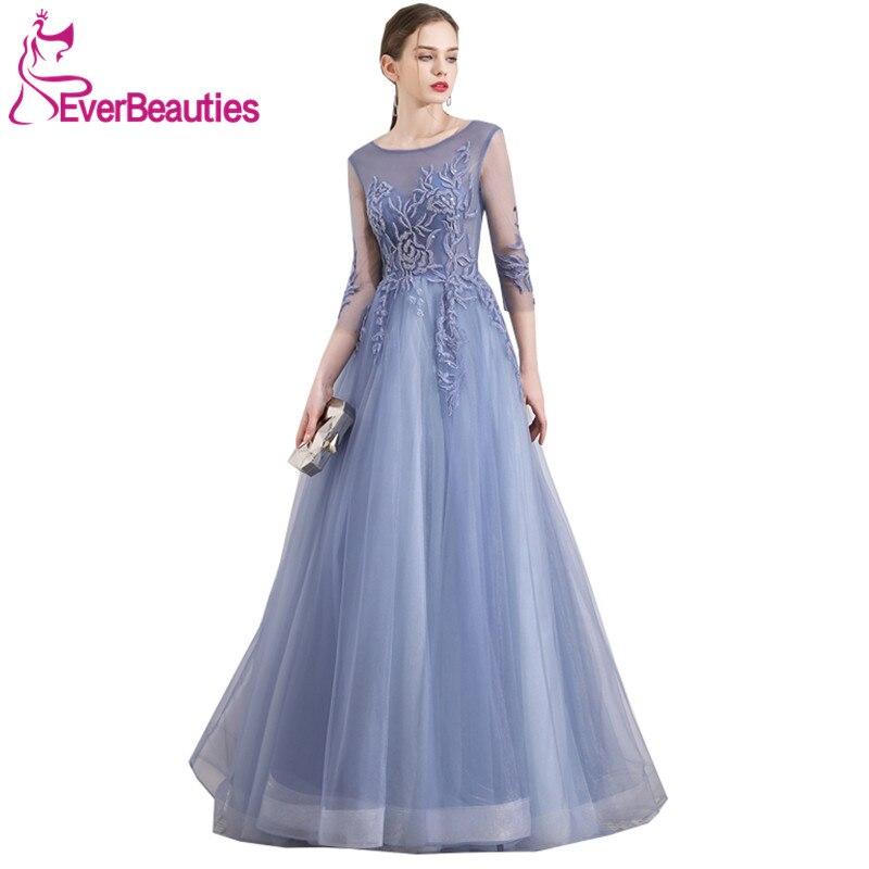 Elegant   Evening     Dress   Long Sleeve Abiye Gece Elbisesi Tulle Appliques   Evening   Gowns Robe De Soiree Abendkleider 2019