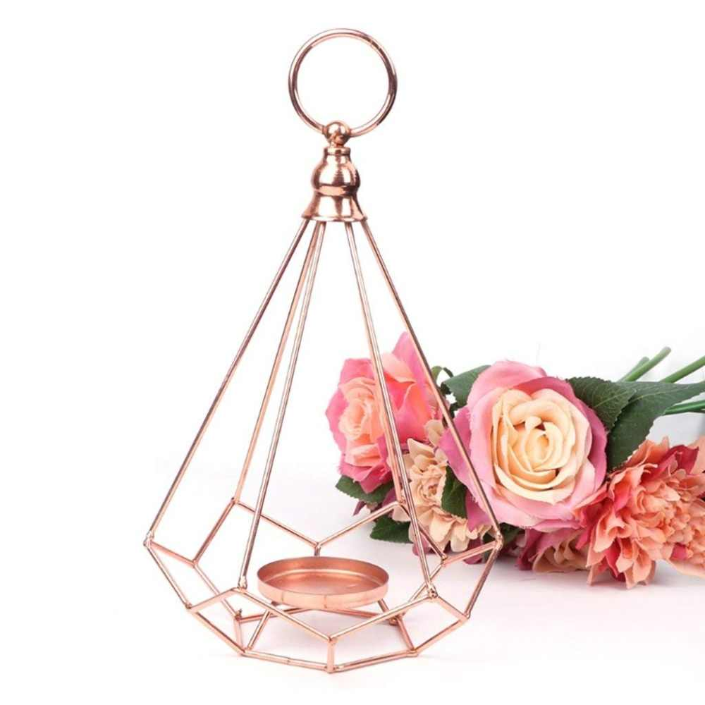 2 pcs Rose gold Candle Holder Hanging Diamonds Tea Light Candle Holder Candlestick  for Dinner Wedding Home Decor
