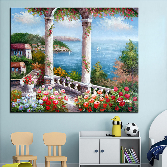 Us 8 45 6 Off Extra Large Wall Painting Of Flower Terrace Home Office Decoration Paint Canvas Prints No Framed Canvas Wall Picture Giclee Art In