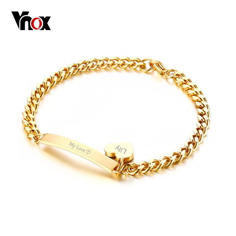 Vnox Can Engrave Thin ID Tag Bracelet Heart Charm Bangle for Women Stainless Steel Chain Charms Bracelets Lady Jewelry Bijoux vnox personalized id necklace pendant stainless steel silicone dog tag jewelry provide engrave record servise
