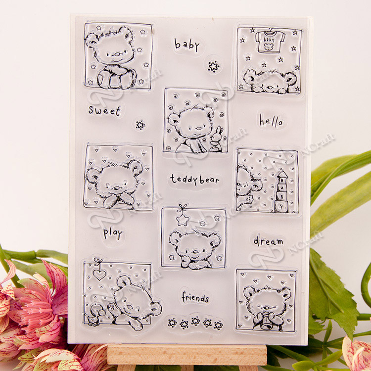 Bear animal New arrival Silicone Transparent Clear Stamp Seal for DIY scrapbooking/photo album Decor stamp handwork art craft lovely bear and star design clear transparent stamp rubber stamp for diy scrapbooking paper card photo album decor rm 037