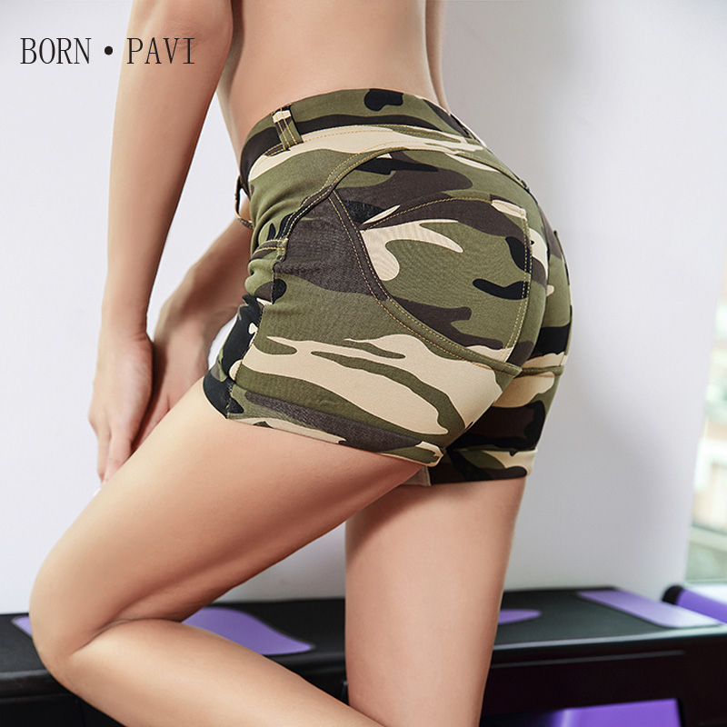 BORNPAVI New   Shorts   For Women Esportes Fast Drying Women   Shorts   CasualEmptied Contrast Elastic Waist Army Green Camouflage   Short