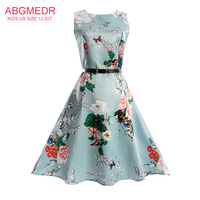 ABGMEDR Brand Autumn Dress For Monsoon Kids Floral Printed Children Clothes For Teens Girl 2017 Summer