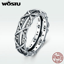 WOSTU High Quality 100% 925 Sterling Silver Intertwine Love Finger Ring for Women Luxury S925 Silver Party Jewelry Gift DXR335