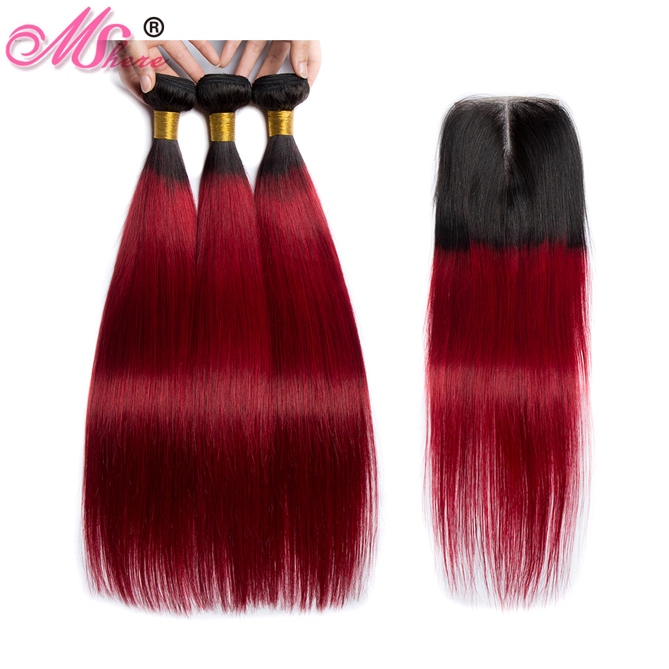 Human Hair Weaves Rapture Msher Straight Hair Bundle With Closure 3 Bundles With Lace Closure Brazilian Remy Human Hair Bundle With Closure 1b/99j