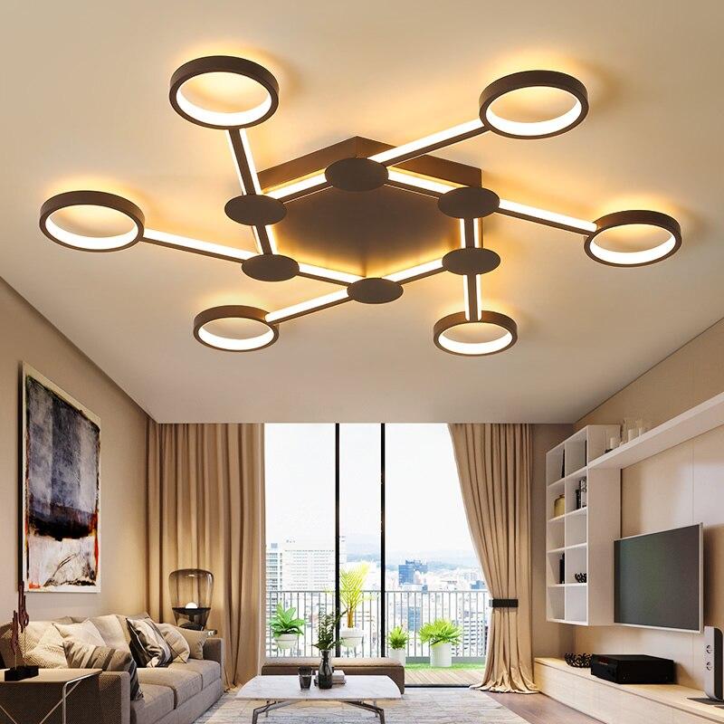 Горячие Современные светодиодные потолочные светильники для гостиной спальни кабинет дома деко кофе готовой потолочный светильник с RC све...