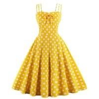 Yellow robe pin up sukienka Women retro 50s 60s sleeveless polka dot print bow swing cami dress frocks Robe vintage rockabilly