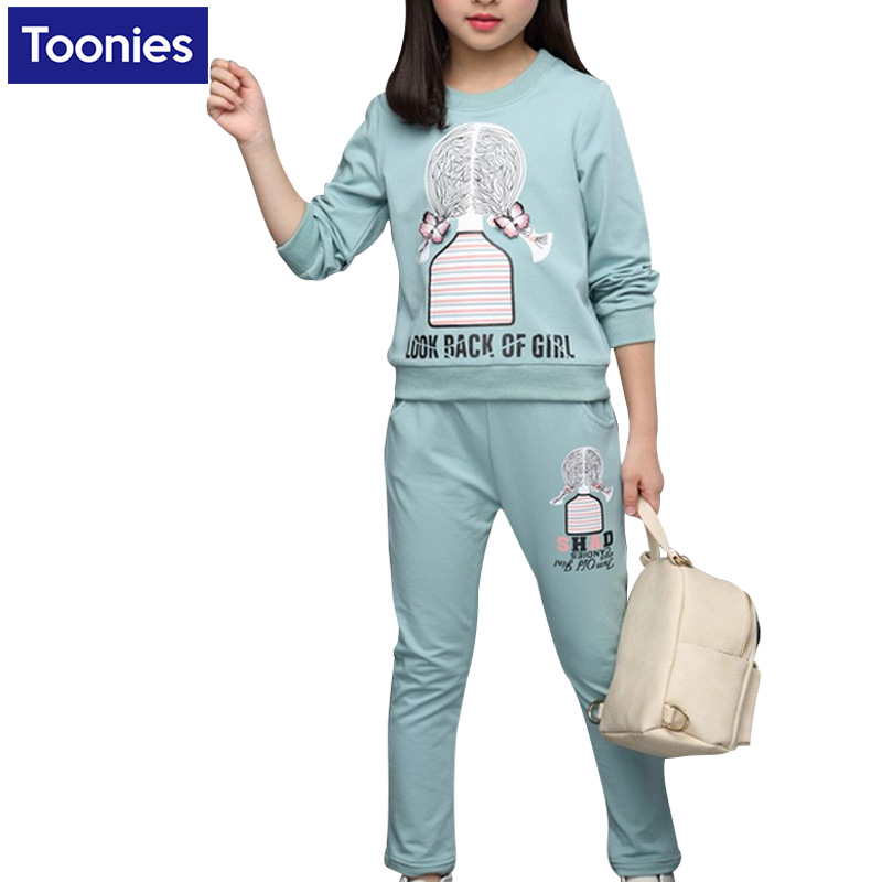 Spring Children Girls Clothing Set Brand Cartoon Girls Sports Suit Kids Tracksuit Sweatshirts + Pants Children Clothes 5-14 Year girls boys clothing set kids sports suit children tracksuit girls waistcoats long shirt pants 3pcs sweatshirt casual clothes